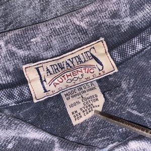 Vintage 90's BLUES *USA* Acid Wash Tie Dye Polo L!